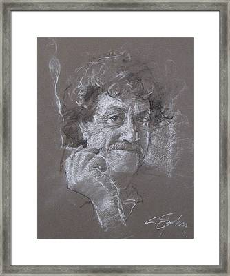 Framed Print featuring the drawing Kurt -- Unfinished Sketch by Cliff Spohn