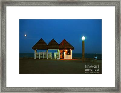 Kuwaiti Pier Snack Bar At Dusk Framed Print by Lawrence Costales