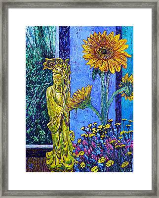 Kwan Yin With Flowers Framed Print by Linda J Bean