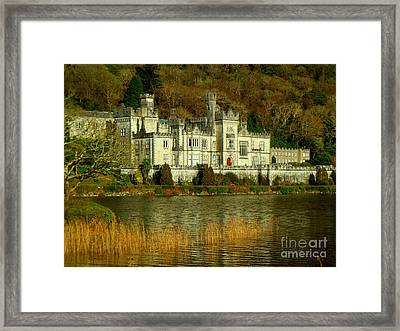 Kylemore Abbey On A Golden Afternoon Framed Print by Anne Gordon