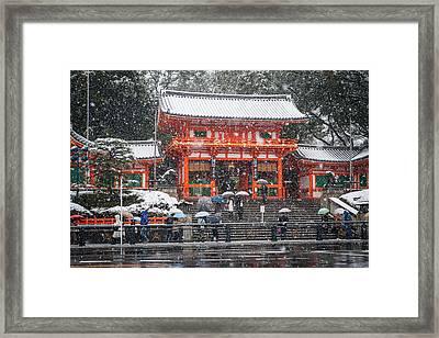 Kyoto Snowfall Framed Print
