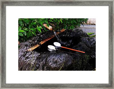 Framed Print featuring the photograph Kyoto Water Vessels by Jacqueline M Lewis
