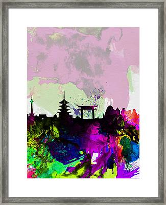 Kyoto Watercolor Skyline Framed Print by Naxart Studio