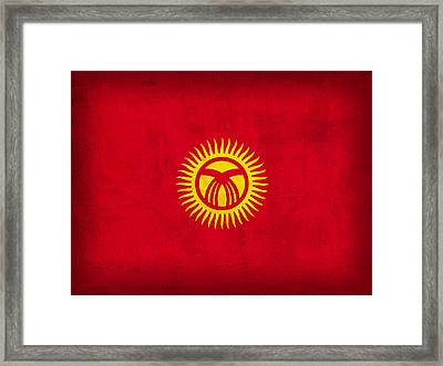 Kyrgyzstan Flag Vintage Distressed Finish Framed Print by Design Turnpike
