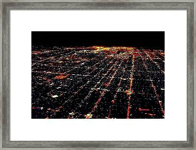 L A Skyscape At Night Framed Print by Sadie Reneau