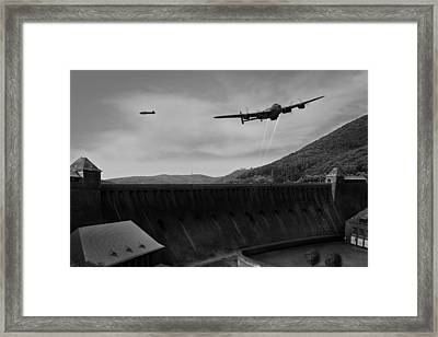 L For Leather Over The Eder Dam Black And White Version Framed Print by Gary Eason