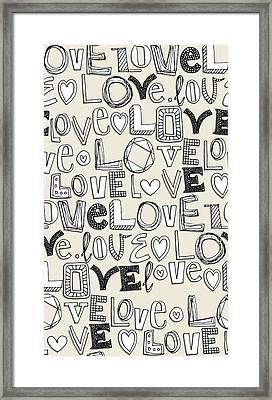 l o v e LOVE ivory white Framed Print by Sharon Turner