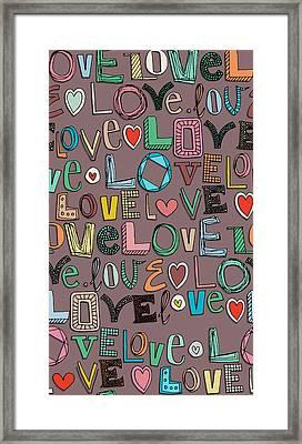 l o v e LOVE mocha Framed Print by Sharon Turner