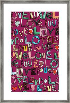 l o v e LOVE pink Framed Print by Sharon Turner