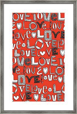l o v e LOVE red white Framed Print by Sharon Turner