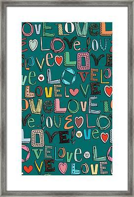 l o v e LOVE teal Framed Print by Sharon Turner
