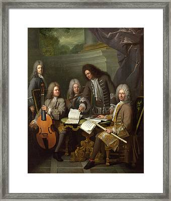 La Barre And Other Musicians Framed Print by Andre Bouys