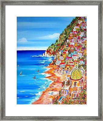 La Bella Positano Amalfi Coast Framed Print