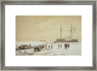 La Cannonniere Weighing Anchor Framed Print by A. & Morel-Fatio, A. Bayot