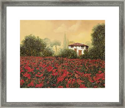 La Casa E I Papaveri Framed Print by Guido Borelli