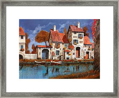 La Cascina Sul Lago Framed Print by Guido Borelli