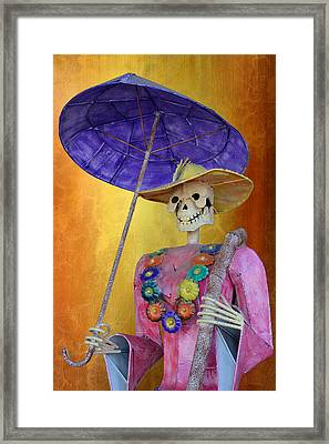 La Catrina With Purple Umbrella Framed Print by Christine Till