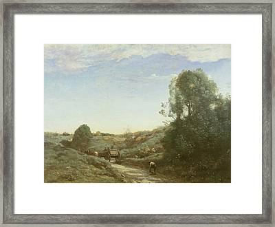 La Charette, Memory Of Marcoussis Oil On Canvas Framed Print by Jean Baptiste Camille Corot