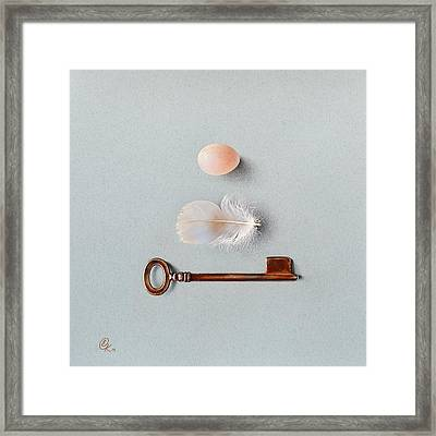 Framed Print featuring the drawing La Clef Des Champs by Elena Kolotusha