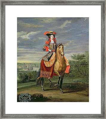 La Comtesse De Soissons Riding With A View Of The Chateau De Vincennes Oil On Canvas Framed Print by Jean-Baptiste Martin