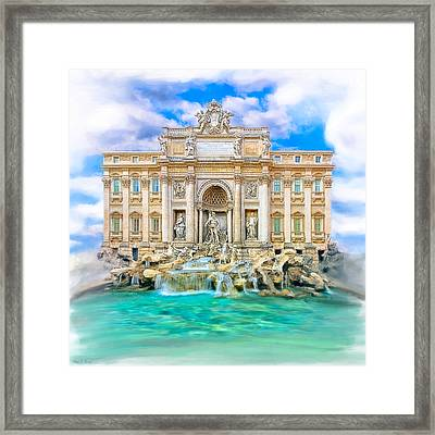 La Dolce Vita - The Trevi Fountain In Rome Framed Print