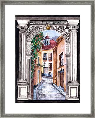 La Entrada The Entrance Framed Print by Karen  Haynes