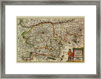 La Fandre Gallicane Vintage Map Framed Print by Inspired Nature Photography Fine Art Photography