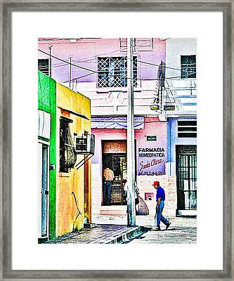 Framed Print featuring the photograph La Farmacia by Jim Thompson