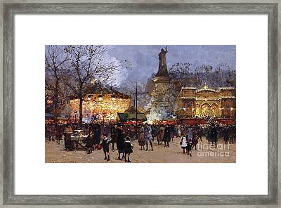 La Fete Place De La Republique Paris Framed Print by Eugene Galien-Laloue
