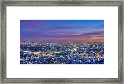 La Fiery Sunset Cityscape Skyline Framed Print