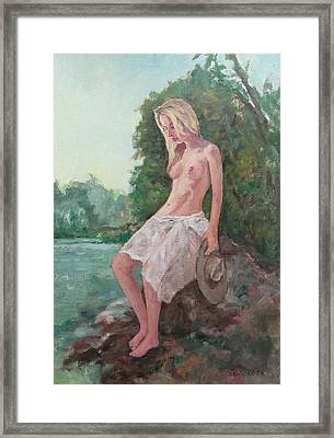 La Fille To The Pond Framed Print by Alain Lutz