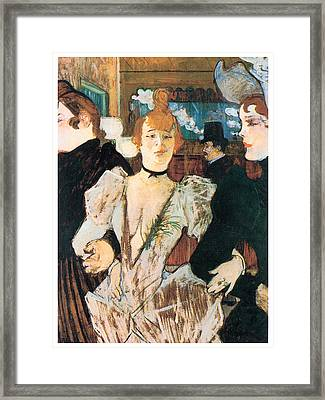 La Goule Arriving At The Moulin Rouge With Two Women Framed Print by Henri Toulouse-Lautrec