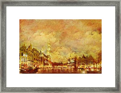 La Grand Place Brussels Framed Print by Catf