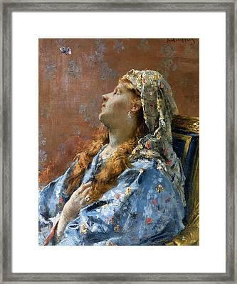 La Japonaise Framed Print by Alfred Stevens