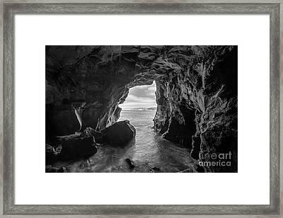 La Jolla Cave Bw Framed Print by Michael Ver Sprill