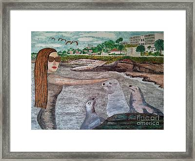Framed Print featuring the painting La Jolla  San Diego by Jasna Gopic