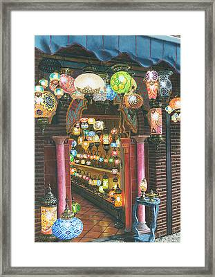 La Lampareria Albacin Granada Framed Print by Richard Harpum