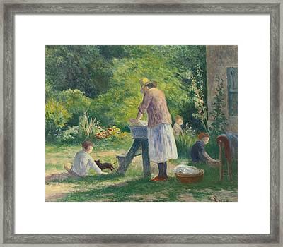 La Lessive Au Jardin Framed Print by Celestial Images
