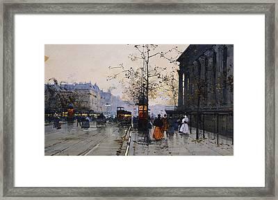 La Madeleine Paris Framed Print by Eugene Galien-Laloue
