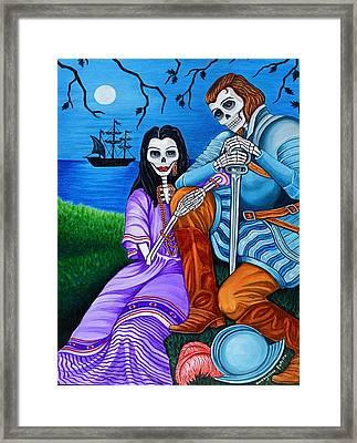 La Malinche Y Cortes Framed Print by Evangelina Portillo
