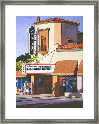 La Paloma Theater In Encinitas Framed Print by Mary Helmreich