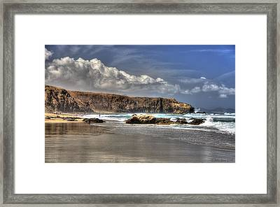Framed Print featuring the photograph La Pared Cliff And Rocky Beach On Fuertaventura Island by Julis Simo
