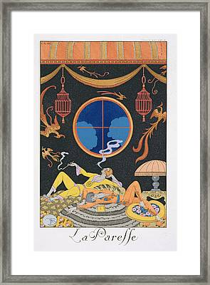 La Paresse Framed Print by Georges Barbier