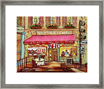 La Patisserie De Nancy French Pastry Boulangerie Paris Style Sidewalk Cafe Paintings Cityscene Art C Framed Print