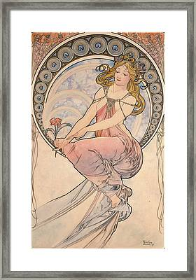 La Peinture, 1898 Watercolour On Card Framed Print by Alphonse Marie Mucha