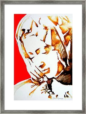 La Pieta Face Framed Print by J- J- Espinoza