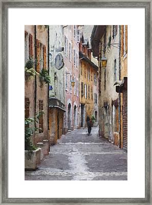 La Pietonne A Annecy - France Framed Print