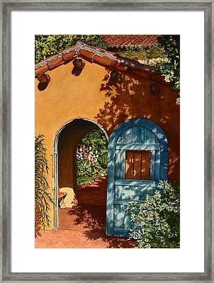 La Posada Hotel Hollyhock Garden Winslow Az Framed Print