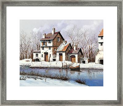 La Prima Neve Framed Print by Guido Borelli