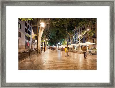 La Rambla At Night  In Barcelona Framed Print
